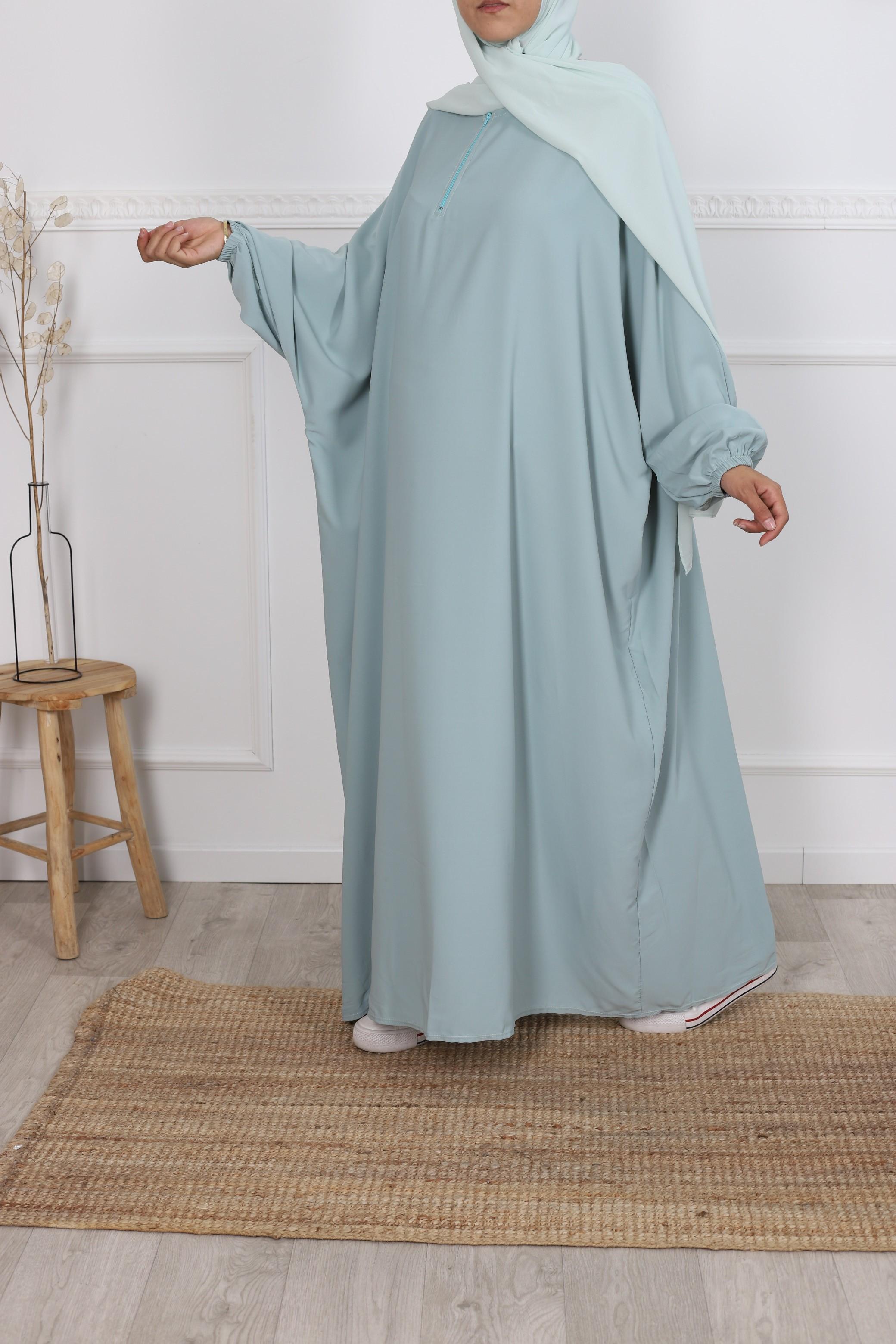 Abaya papillon vert eau