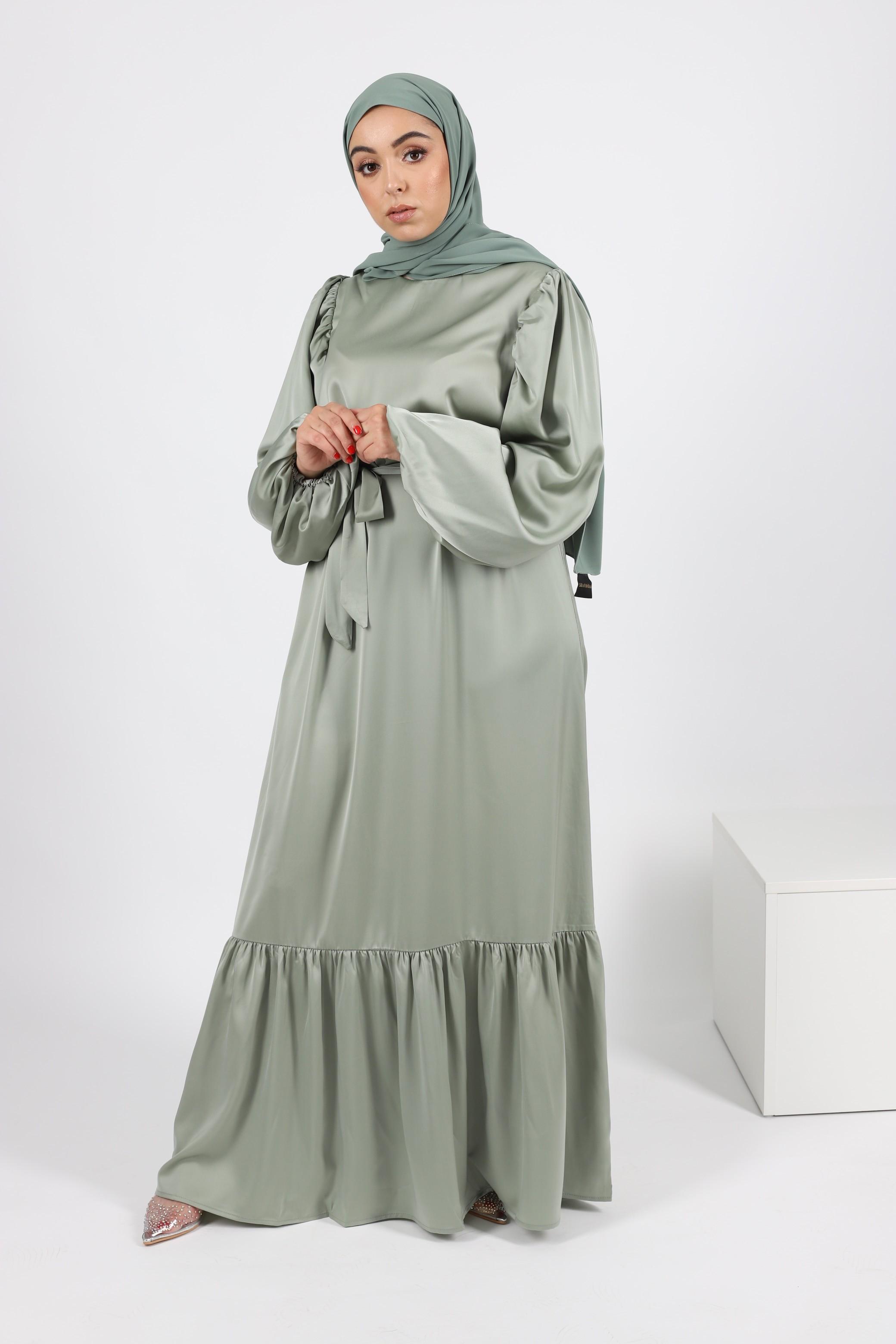 Robe satiné vert eau