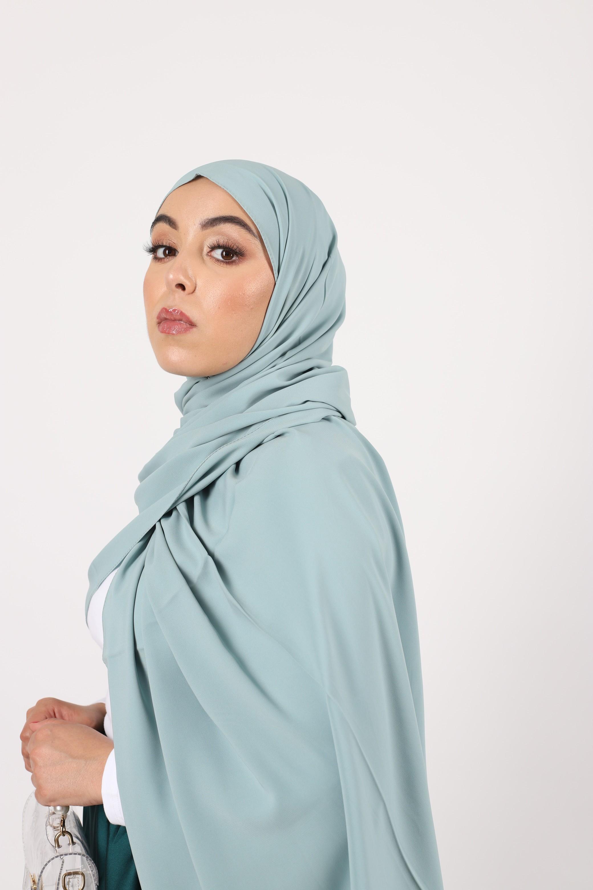 Hijab soie de medine menthe
