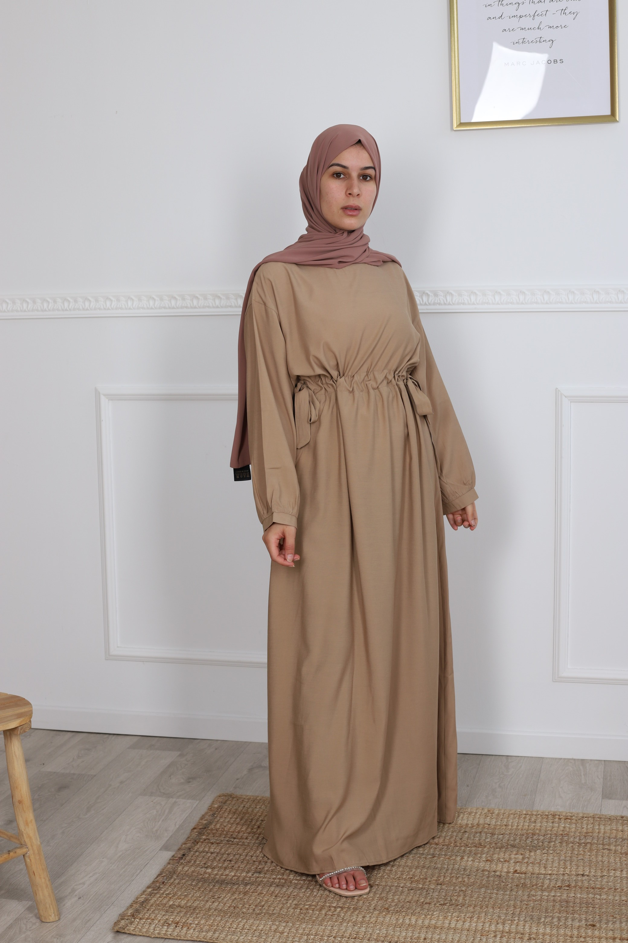 Robe droite fronce camel