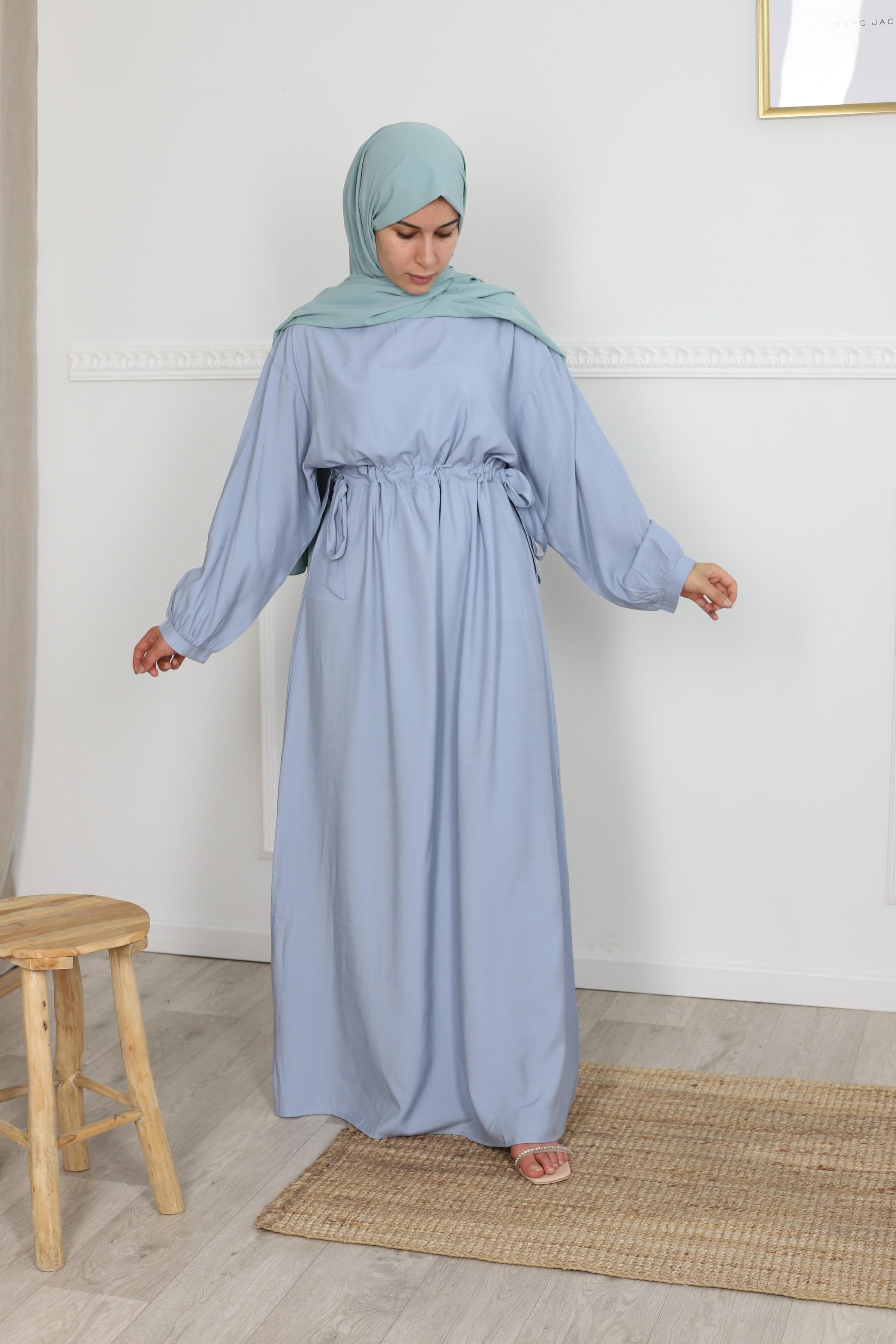 Robe droite fronce bleu iciel