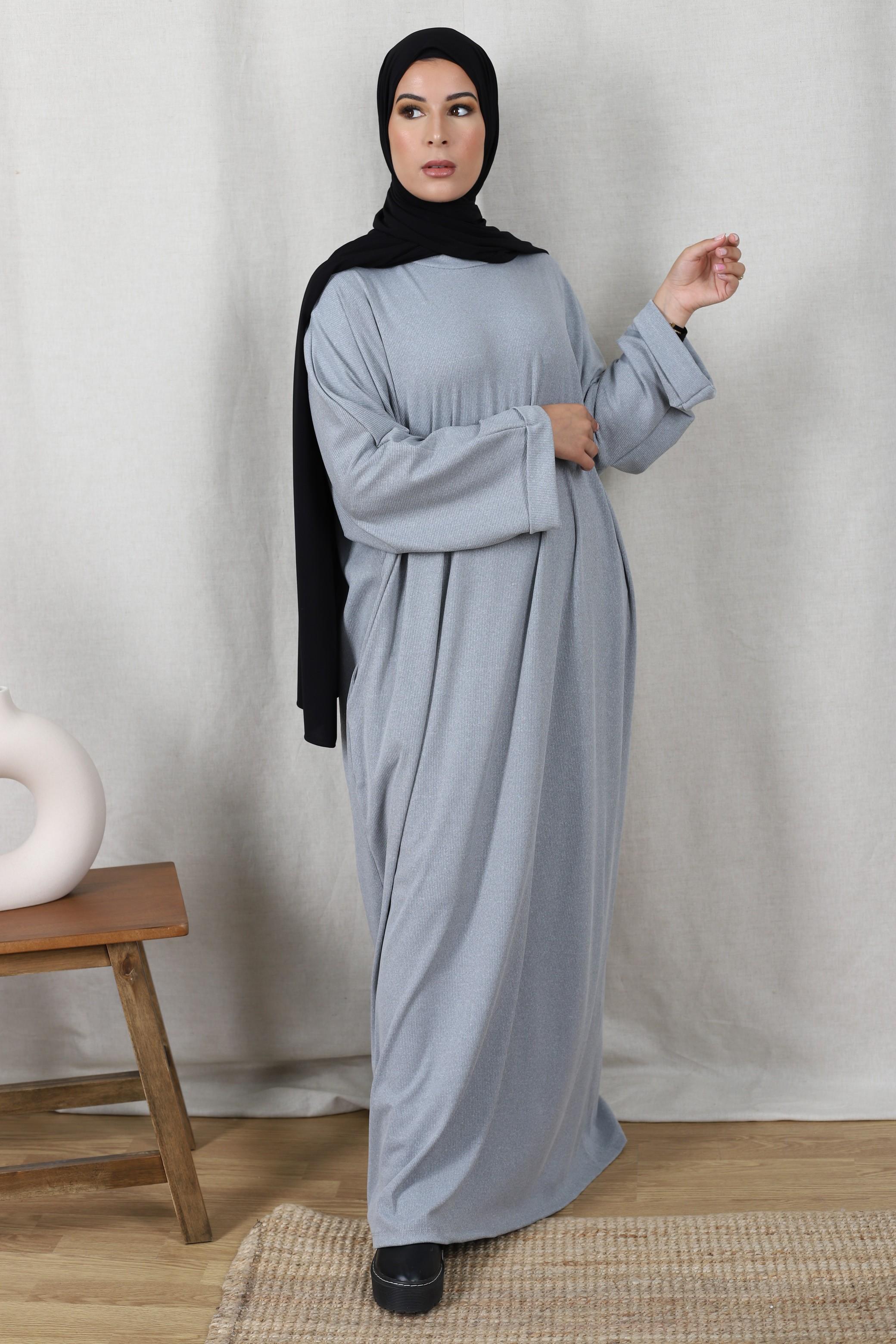 Robe basic côtelé gris
