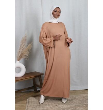 Robe basic côtelé camel