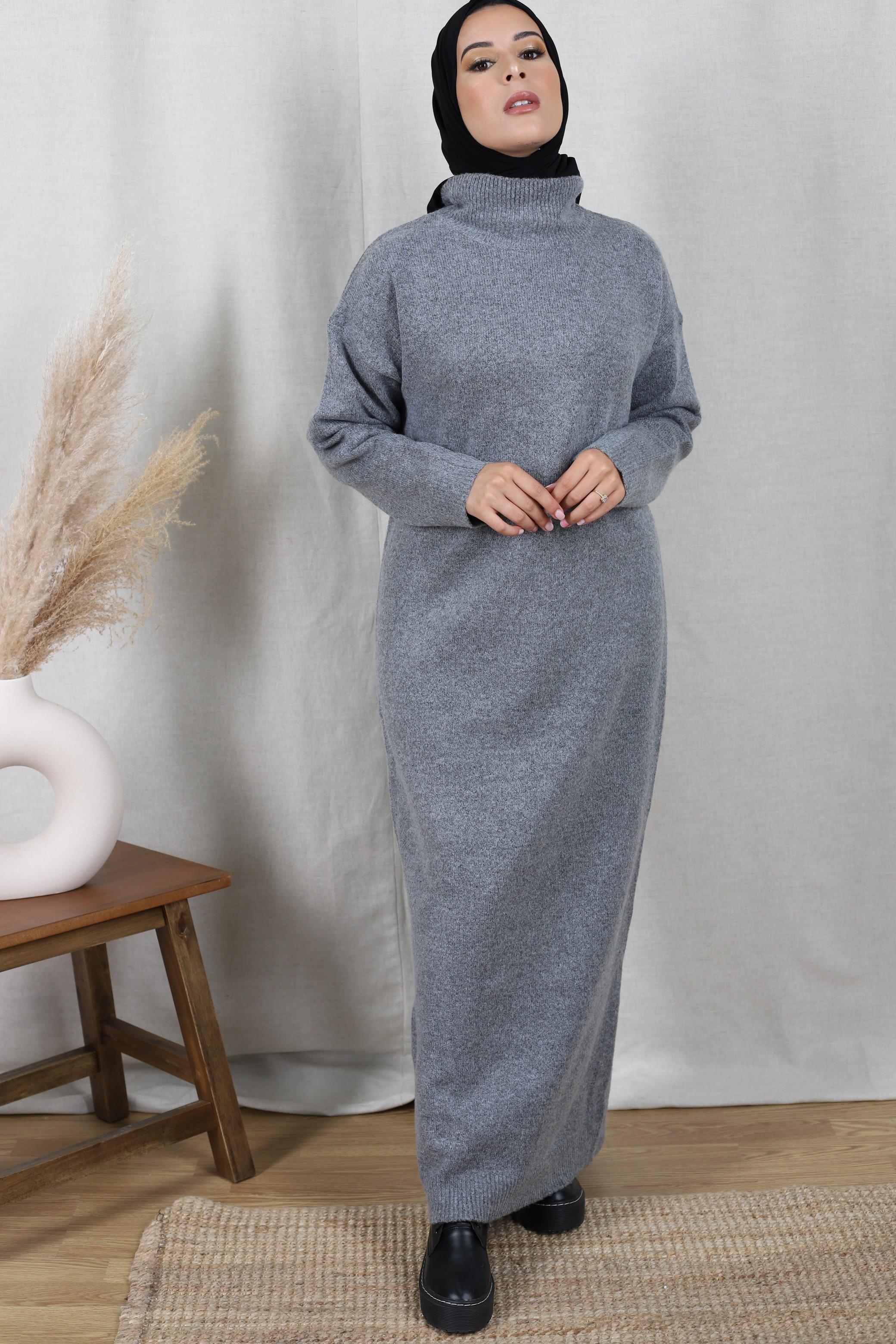Robe pull oversize gris foncé