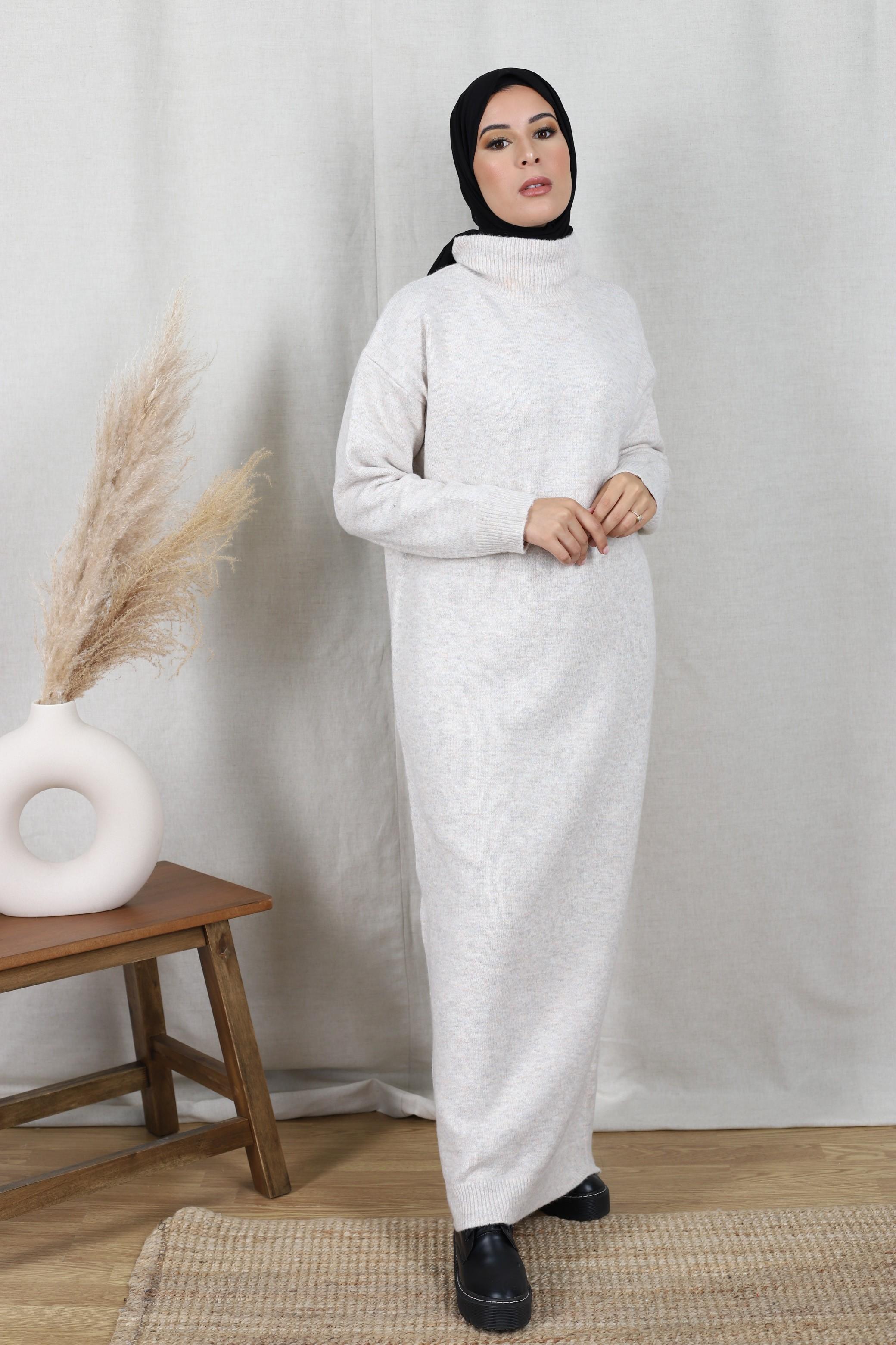 Robe pull oversize écru