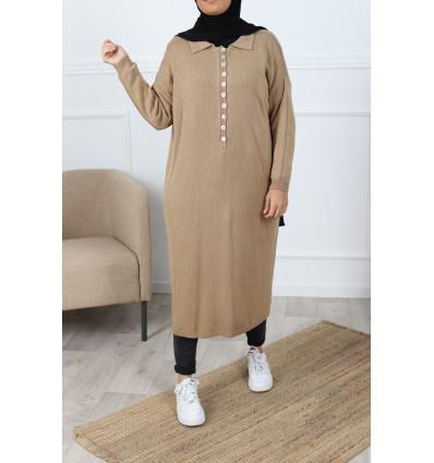 Tunique polo maxi camel