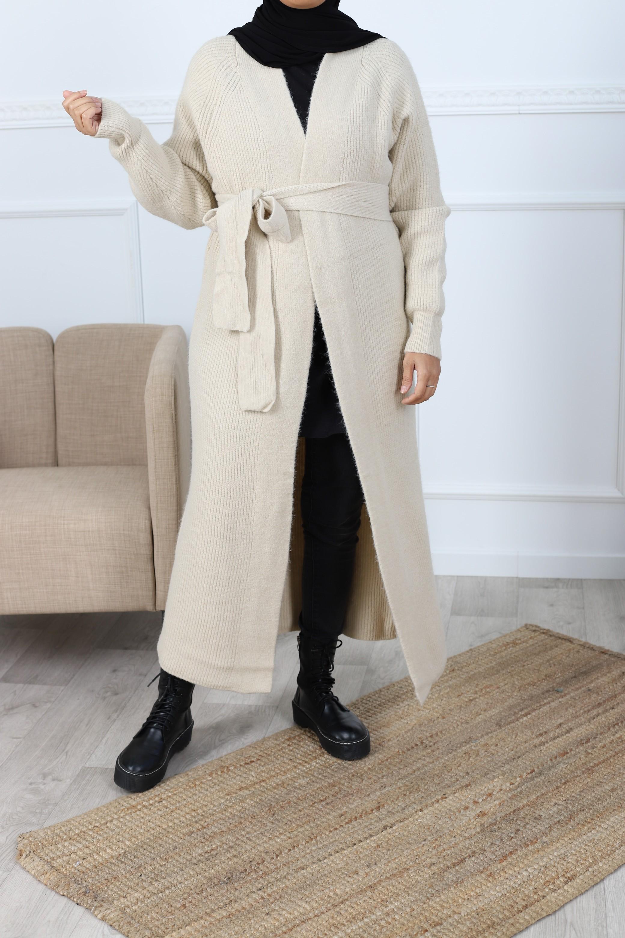 Cardigan maxi long beige clair
