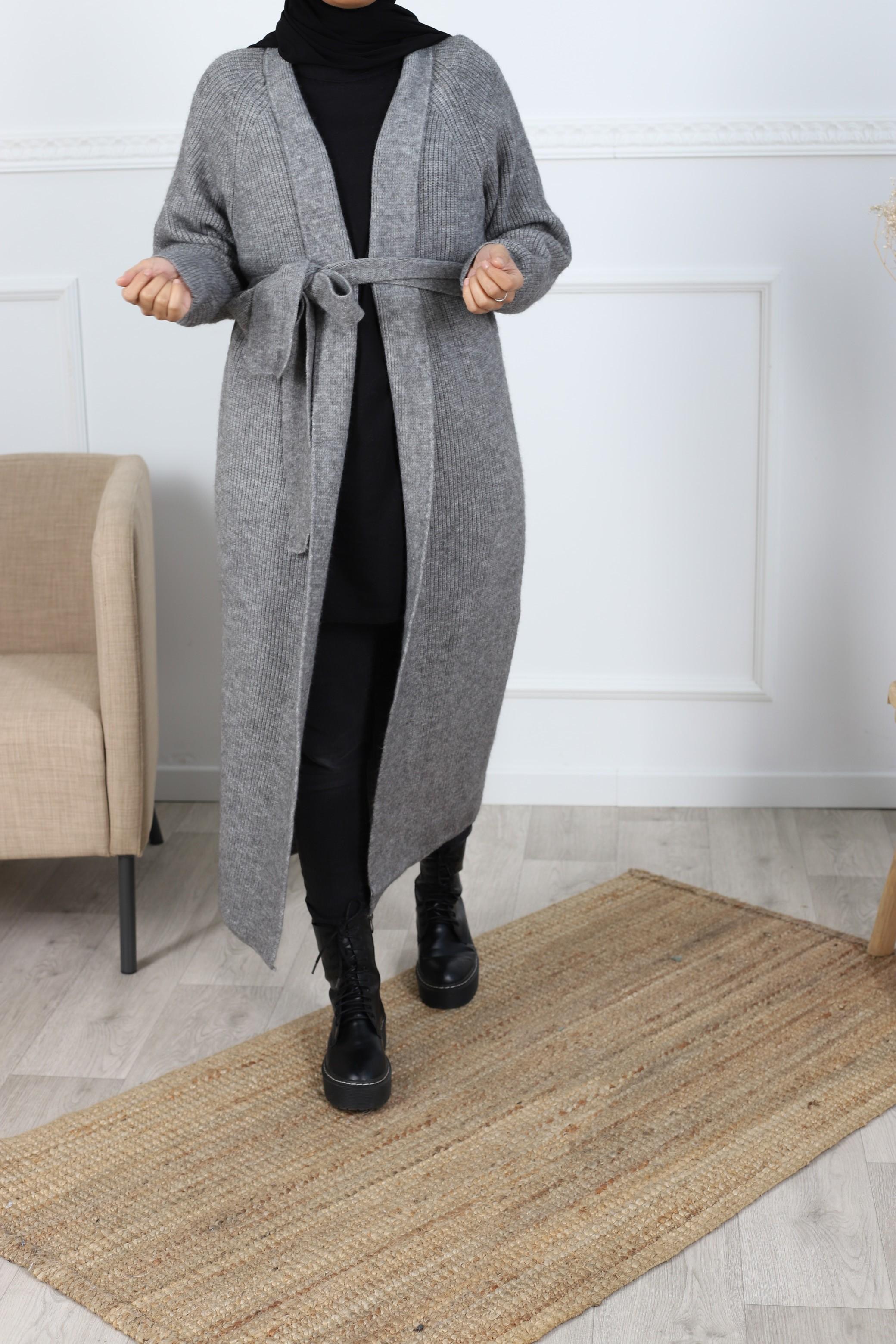 Cardigan maxi long gris focné
