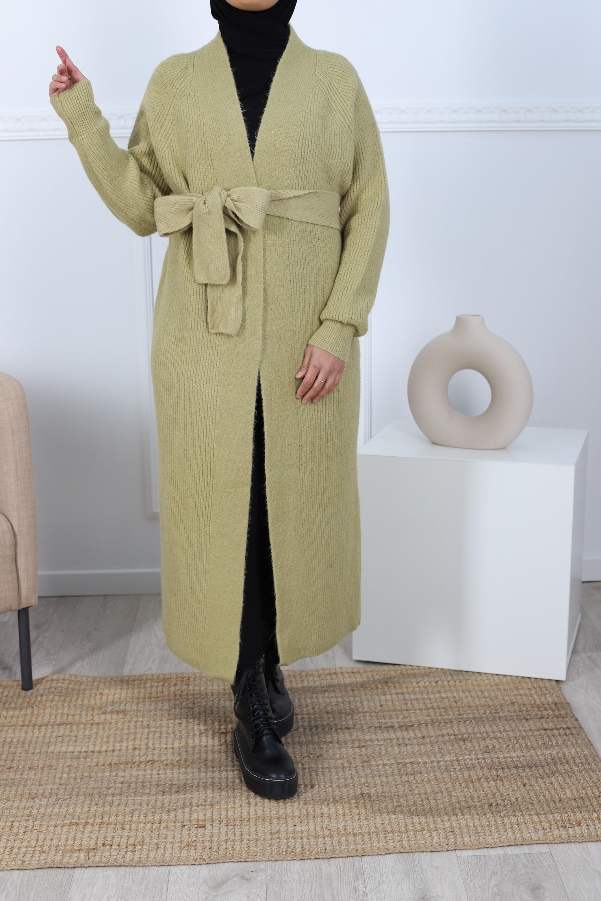 Cardigan maxi long olive