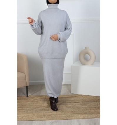 Ensemble jupe gris clair
