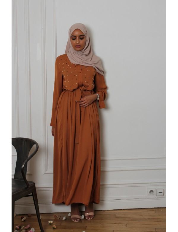 Robe pearly camel