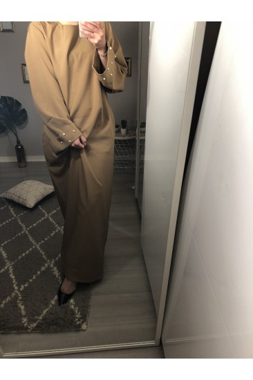 Abaya manche perlé