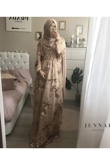 Robe sequin nude