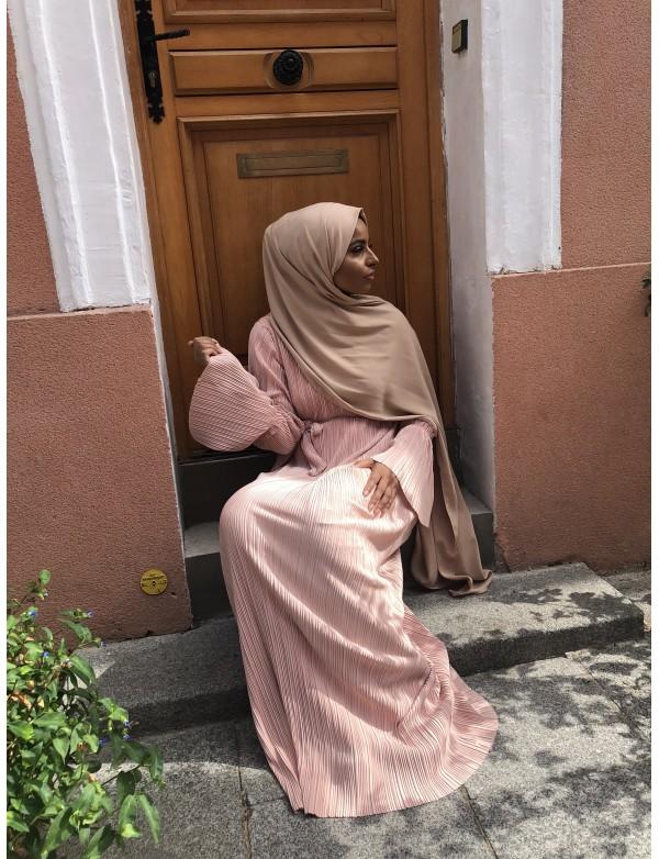 Abaya plissé nude