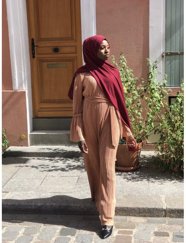 Abaya plissé camel