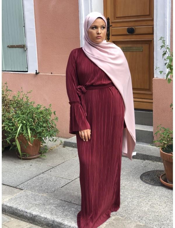 Abaya plissé bordeaux