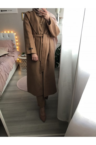 Manteau long laine camel