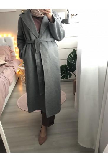 Manteau long laine gris