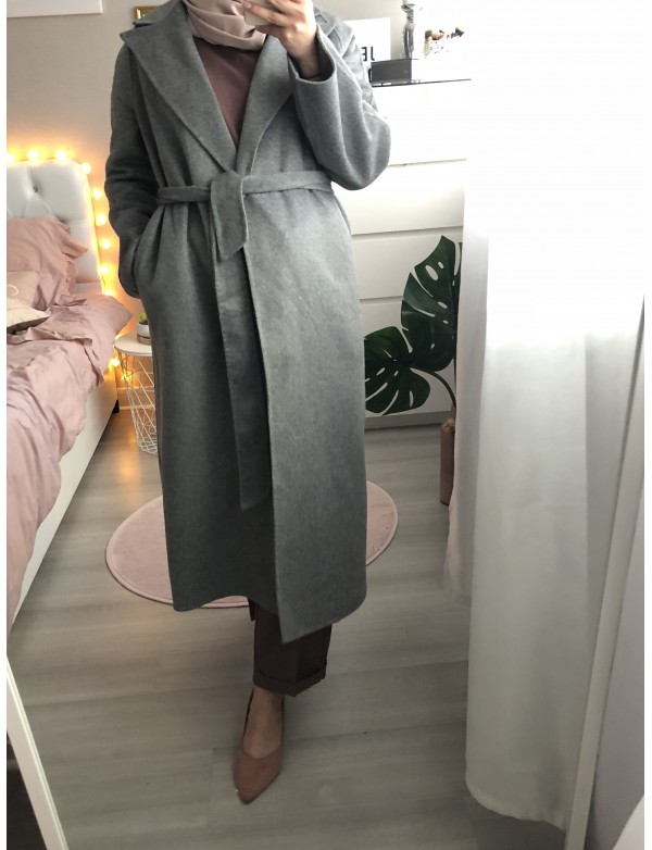 Manteau long laine gris