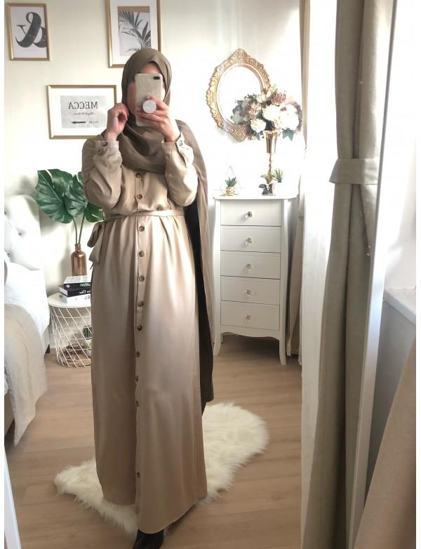 Robe longue boutonné beige