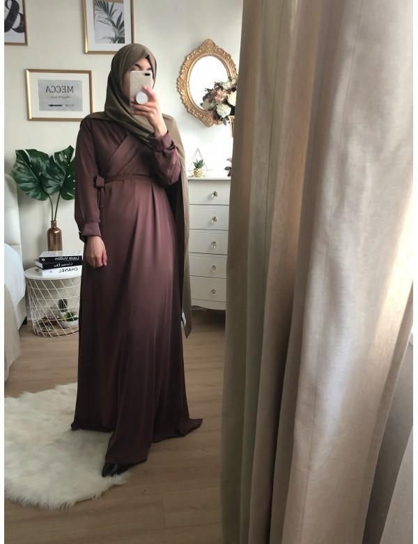 Abaya evase mauve
