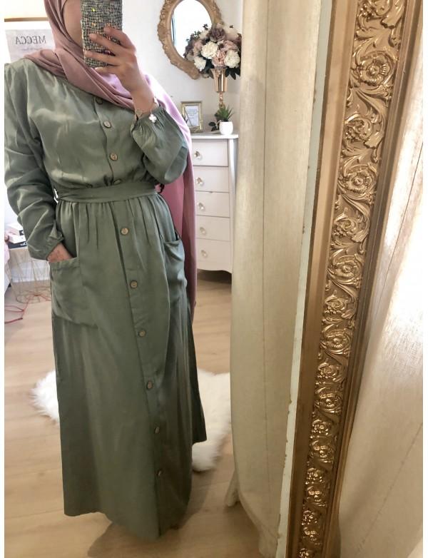 Robe coton tencel vert