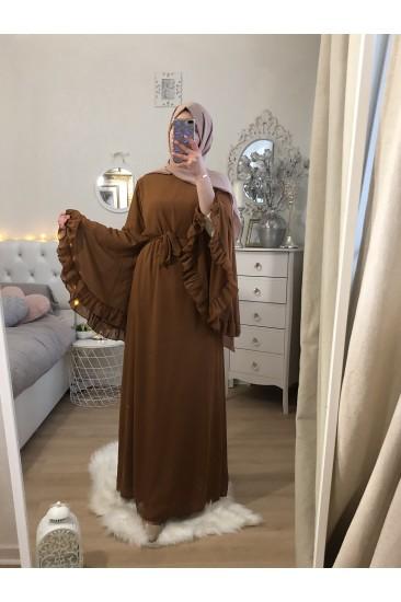 FRILLED CAMEL DRESS