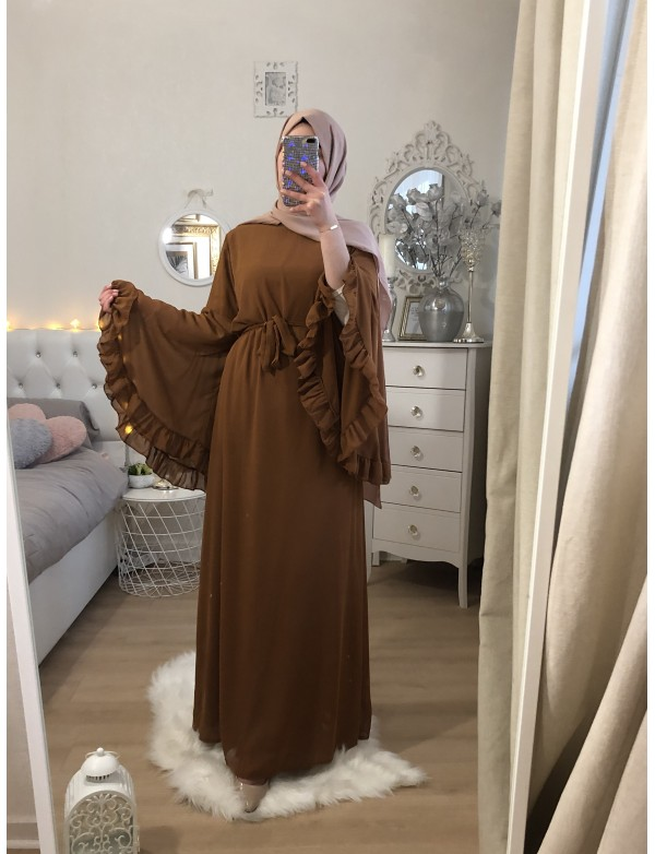 FRILLED CAMEL DRESS