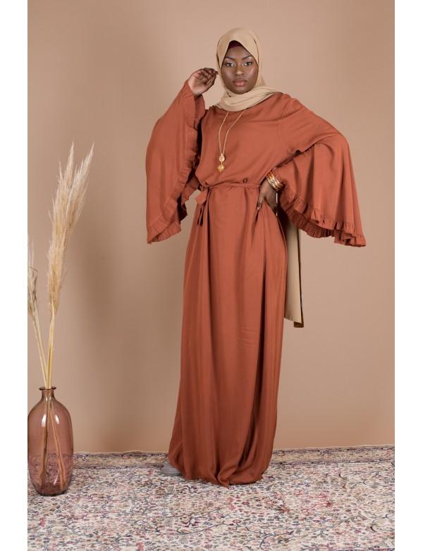 Robe cotton volant rouille