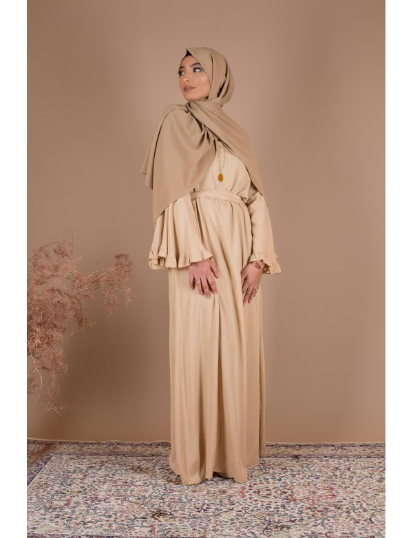 Robe cotton volant beige