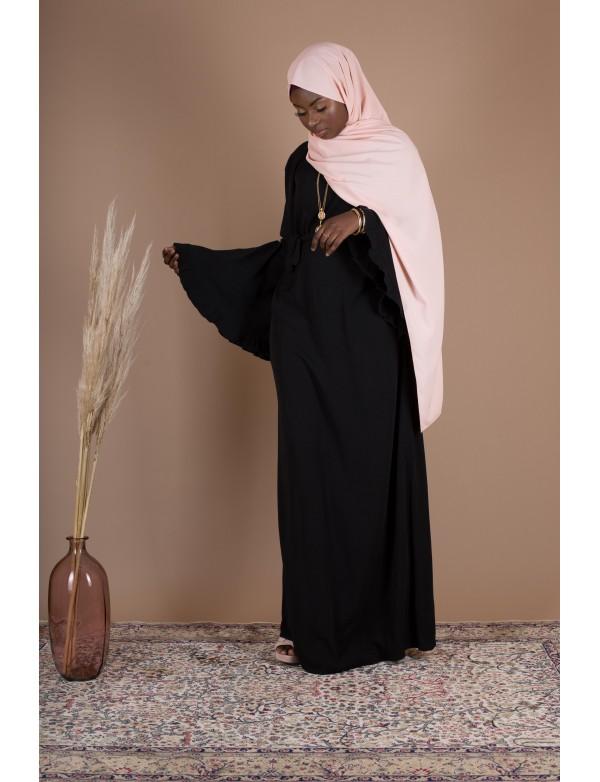 Robe cotton volant noir