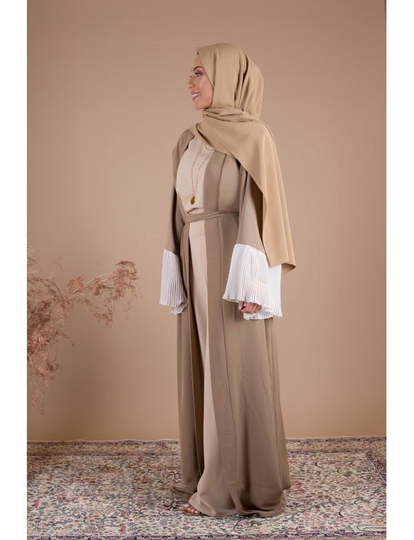 Abaya kimono plissé camel