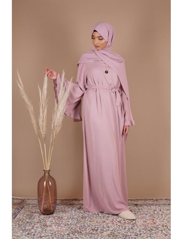 Robe cotton volant rose