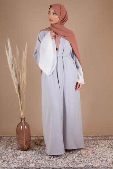 Abaya kimoni plissé gris