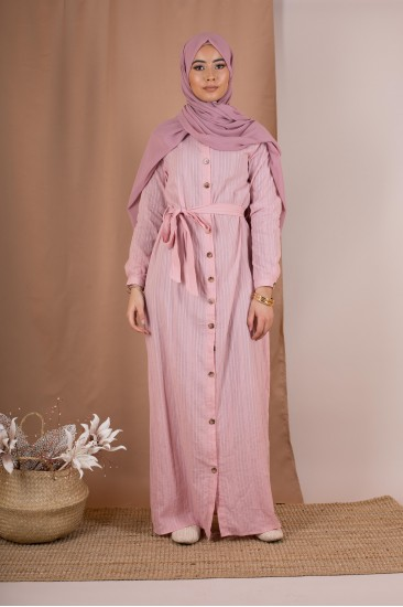 Robe longue chemise rose