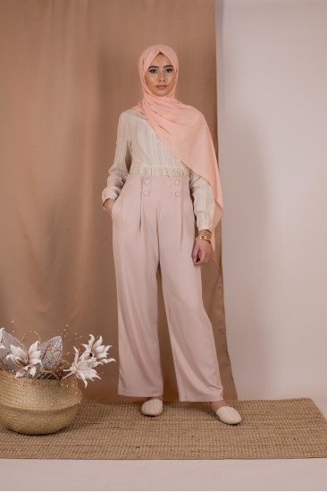 Pantalon large basic rose