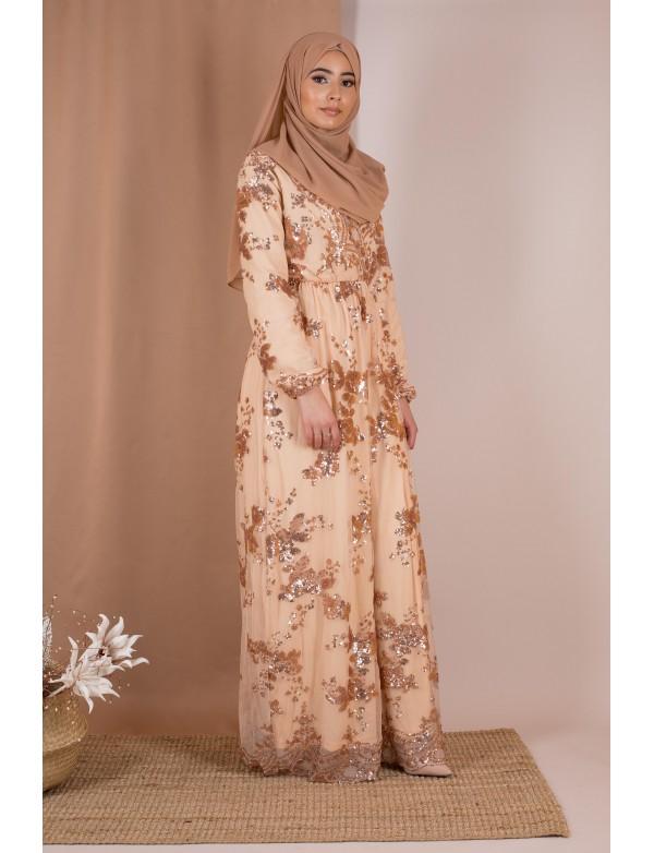 Robe sequin nude