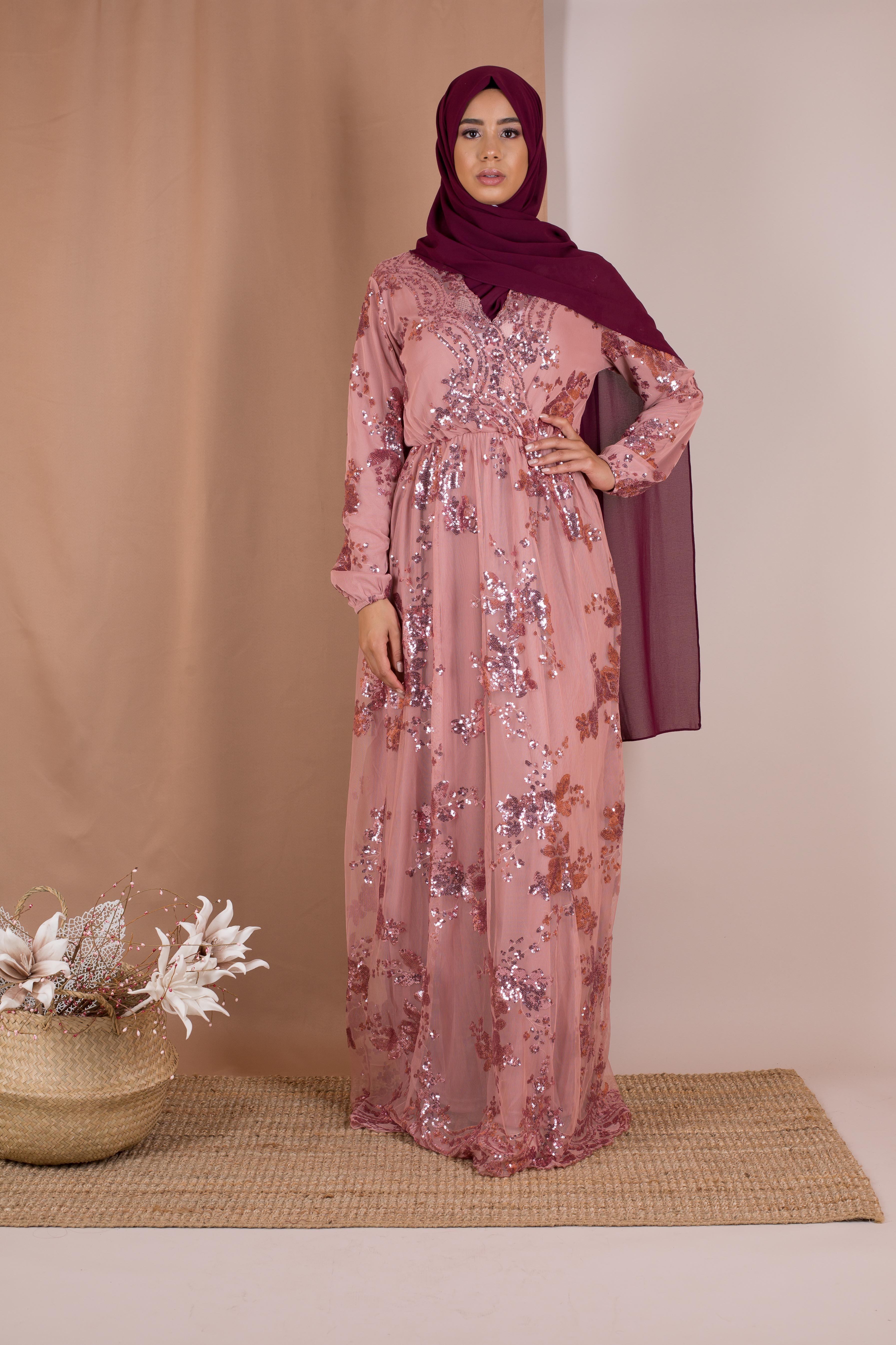 Robe sequin rose
