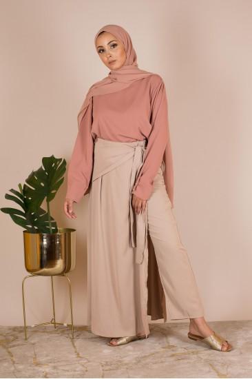 Pantalon wrap beige