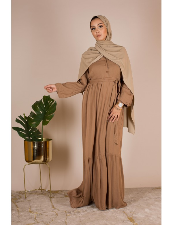 Robe longue en lin camel