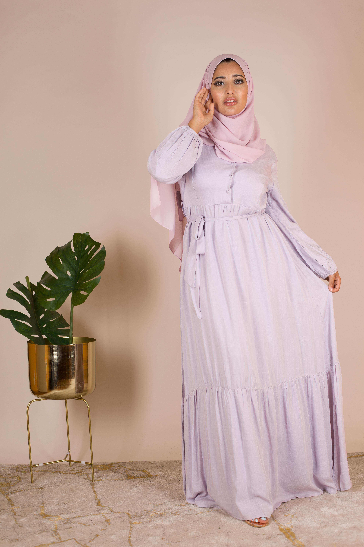 Robe longue lin lavande