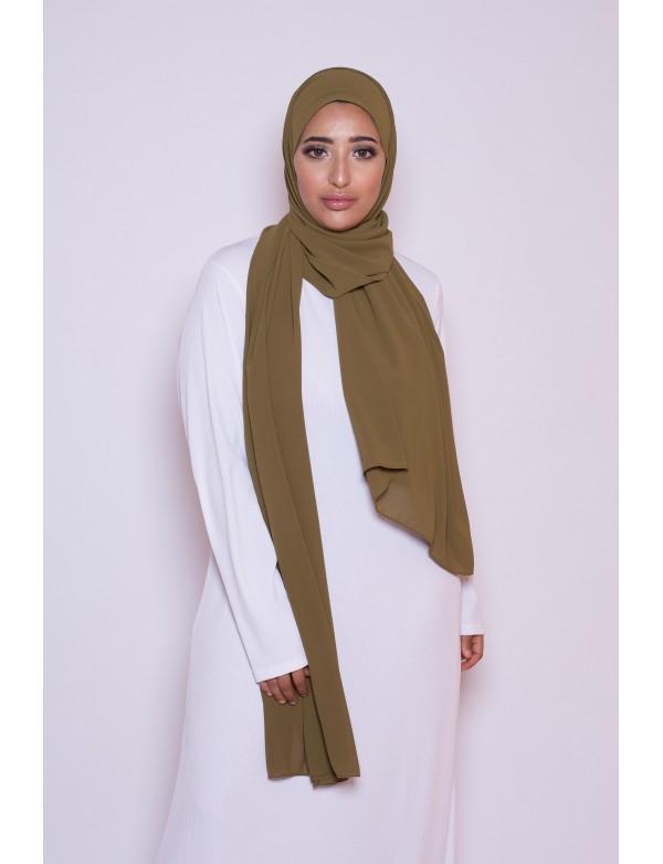 Hijab mousseline olive