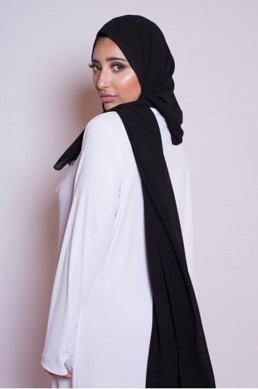 Hijab mousseline noir