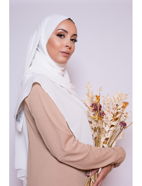 Hijab mousseline blanc