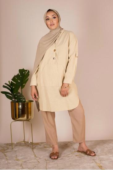 Tunique coton beige