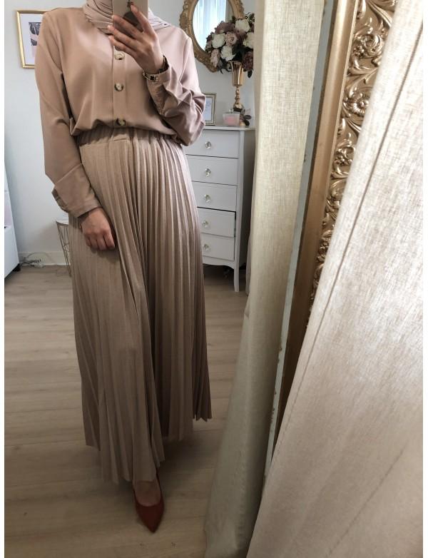 Jupe plissé camel