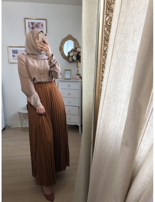 Jupe plissée camel