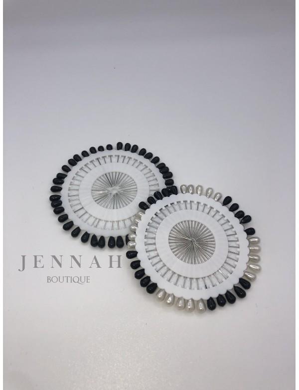Epingle hijab noir et blanc