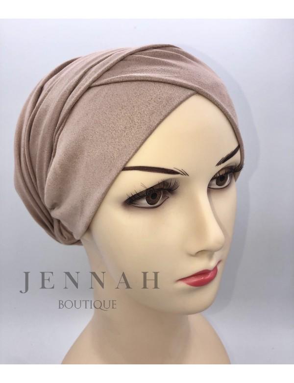 Bonnet turban daim