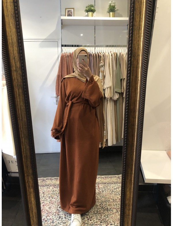 Robe basic coton rouille